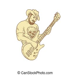 Cowboy Bass Guitar Isolated Drawing