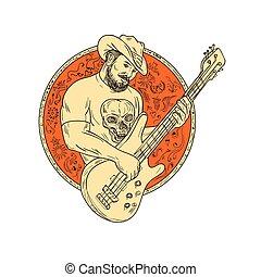 Cowboy Playing Bass Guitar Circle Drawing