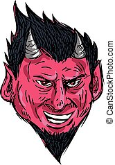 Demon Horns Goatee Head Drawing - Drawing sketch style...