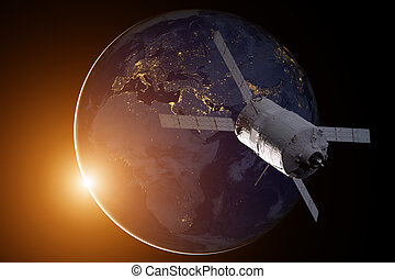 Cargo spacecraft - The Automated Transfer Vehicle over the...