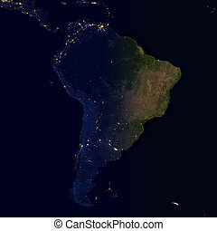 City lights on world map. South America.