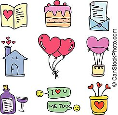 Collection of love set doodles