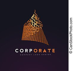 Corporate Abstract Logo with Gold Shattered Squares
