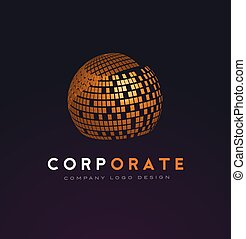 Corporate Sphere Logo with Shattered Squares