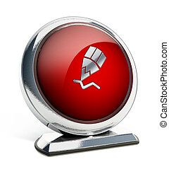 Glossy red button with pencil symbol. 3D illustration.
