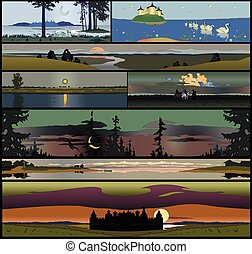 Set of 8 seamless panoramical landscapes - Set of 8 seamless...