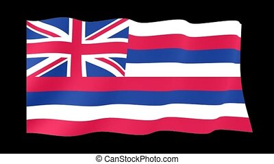 Hawaii State flag. Waving - Flag animation for using in...
