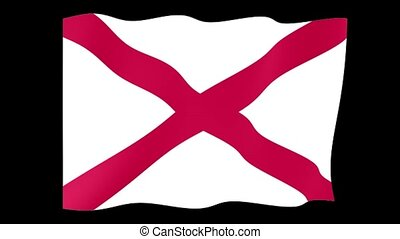 Alabama-State flag. Waving - Flag animation Background...