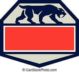 Saber Tooth Tiger Cat Hexagon Retro - Illustration of a...