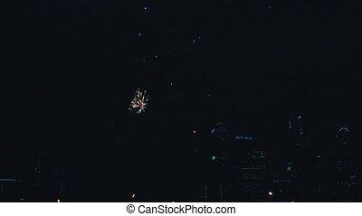 Fireworks in the night sky HD