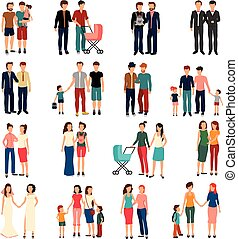 Homosexual Couples Set - Flat set of male and female...