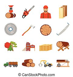 Sawmill Timber Icon Set - Sawmill timber flat isolated icons...