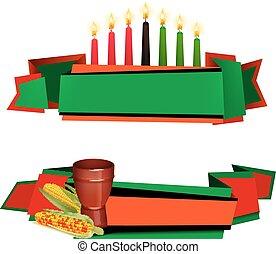 Kwanzaa Ribbon 2 Colorful Banners Set - Kwanzaa celebrations...