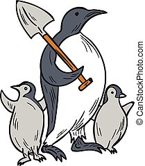 Penguin Holding Shovel With Chicks Drawing - Drawing sketch...