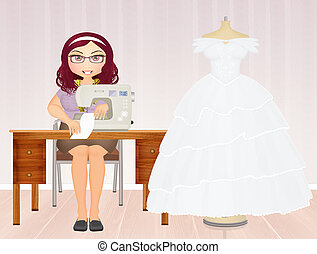 couture wedding dresses - illustration of couture wedding...
