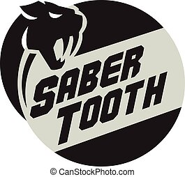 Saber Tooth Tiger Cat Head Circle Retro - Illustration of a...