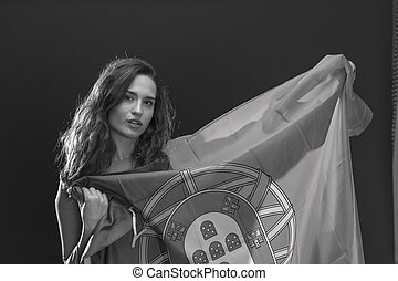 Beautiful woman with Flag of Portugal. - Beautiful brunette...