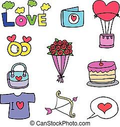 Set of love doodles design
