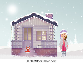 little girl in the house in winter