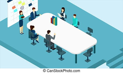Business people video animation footage