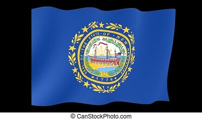 New Hampshire State flag. Waving - Flag animation Background...