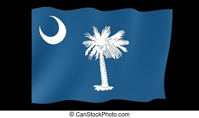 South Carolina State flag. Waving . - Flag animation for...