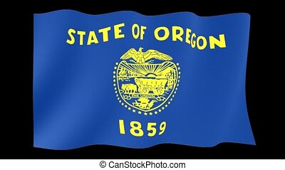 Oregon State flag. Waving - Flag animation for using in...