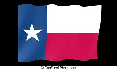 Texas State flag. Waving - Flag animation Background deleted...
