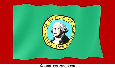 Washington State flag. Waving. - Flag animation for using in...