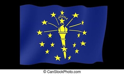 Indiana State flag. Waving.