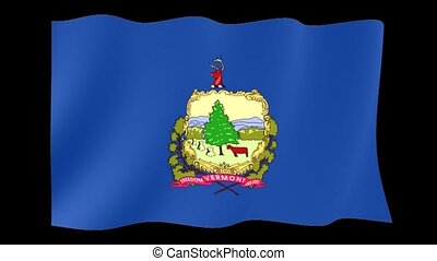 Vermont State flag. Waving . - Flag animation for using in...