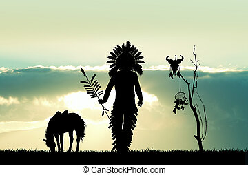 Native American Indian at sunset - illustration of Native...