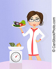 dietitian girl with vegetables - illustration of dietitian...