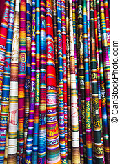 Background of colored fabrics from Colombian ethnic market