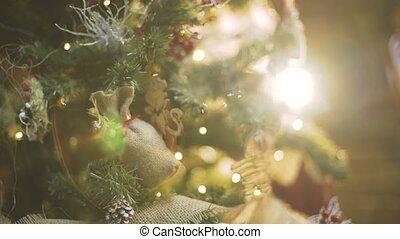 Christmas tree lights twinkling