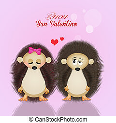 hedgehogs for Valentines day - illustration of hedgehogs for...
