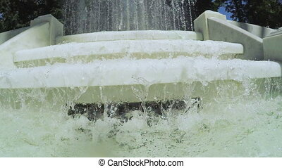 Fountain with steps - Flowing water on stairs and part of...