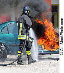 firefighter during shutdown of a fire of a car