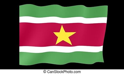 Flag of Suriname. Waving flag