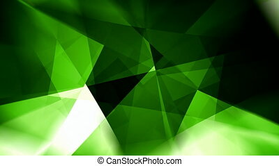 Rotating glowing green triangles abstract motion background...