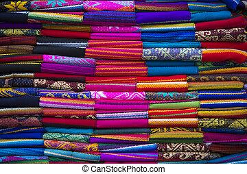 Colorful Fabrics at Otavalo market in Ecuador.