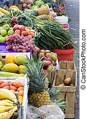 Fresh fruits at Andean market, Otavalo, Ecuador - Different...