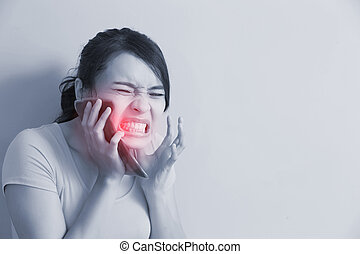 woman have toothache - beauty woman have toothache and feel...