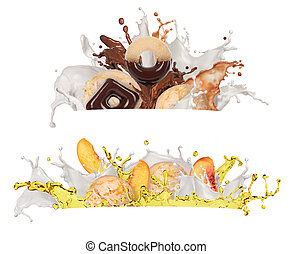 a splash of milk, chocolate  and juice on a white background
