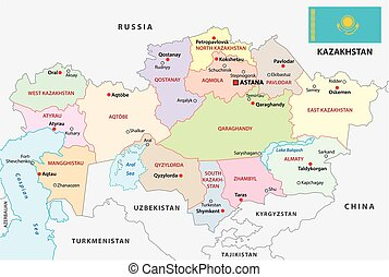kazakhstan administrative map with flag
