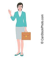 Female teacher with a briefcase bag - Color illustration of...