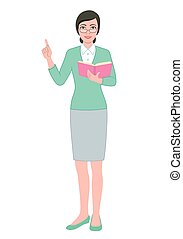 Female teacher with a book - Color illustration of the...