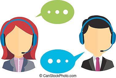 Call center operators - Male and female call center icons...