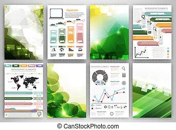 Green Infographic brochure templates