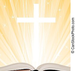 Holy Bible - Holy Book, Cross and Lights